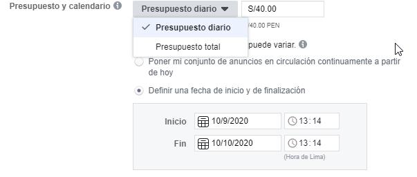 presupuestos de anunciar en facebook instagram y whatsapp en peru